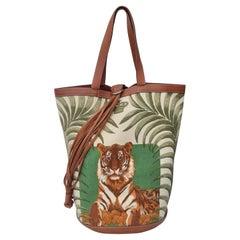 Hermès Chevrons Toile Canvas and Barenia Leather Tigre Royal Bucket Bag RARE