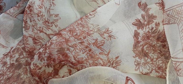 Hermès Chiffon Mousseline Silk Scarf Long Stole Toile de Jouy Pattern Rare For Sale 6