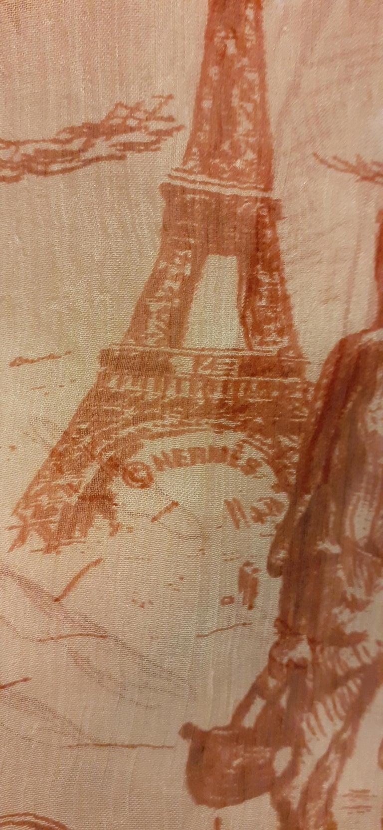 Hermès Chiffon Mousseline Silk Scarf Long Stole Toile de Jouy Pattern Rare For Sale 7