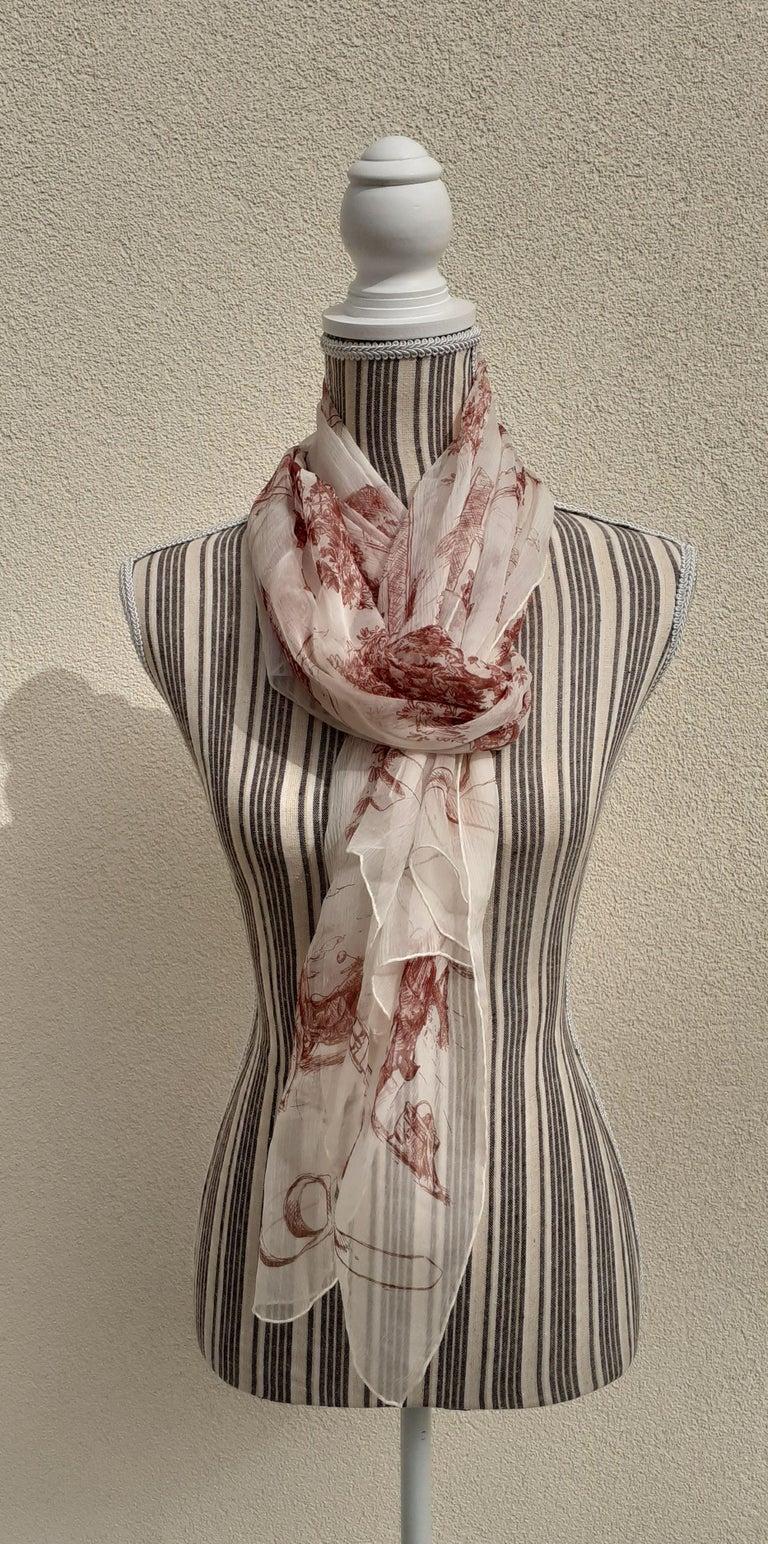 Hermès Chiffon Mousseline Silk Scarf Long Stole Toile de Jouy Pattern Rare For Sale 8