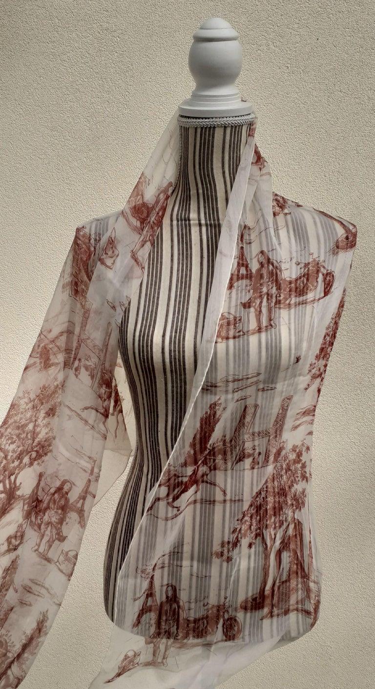 Hermès Chiffon Mousseline Silk Scarf Long Stole Toile de Jouy Pattern Rare For Sale 9