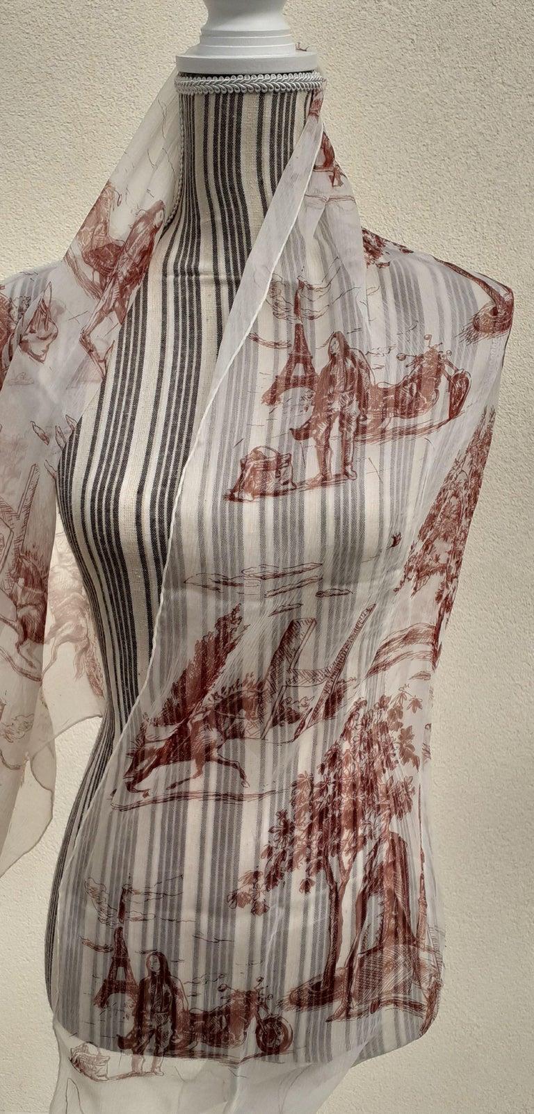 Hermès Chiffon Mousseline Silk Scarf Long Stole Toile de Jouy Pattern Rare For Sale 10