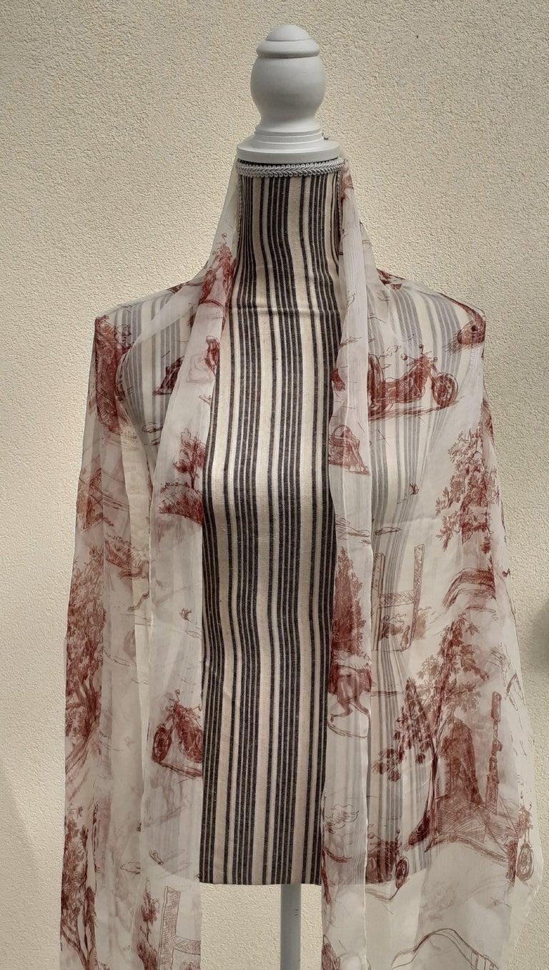Hermès Chiffon Mousseline Silk Scarf Long Stole Toile de Jouy Pattern Rare For Sale 12