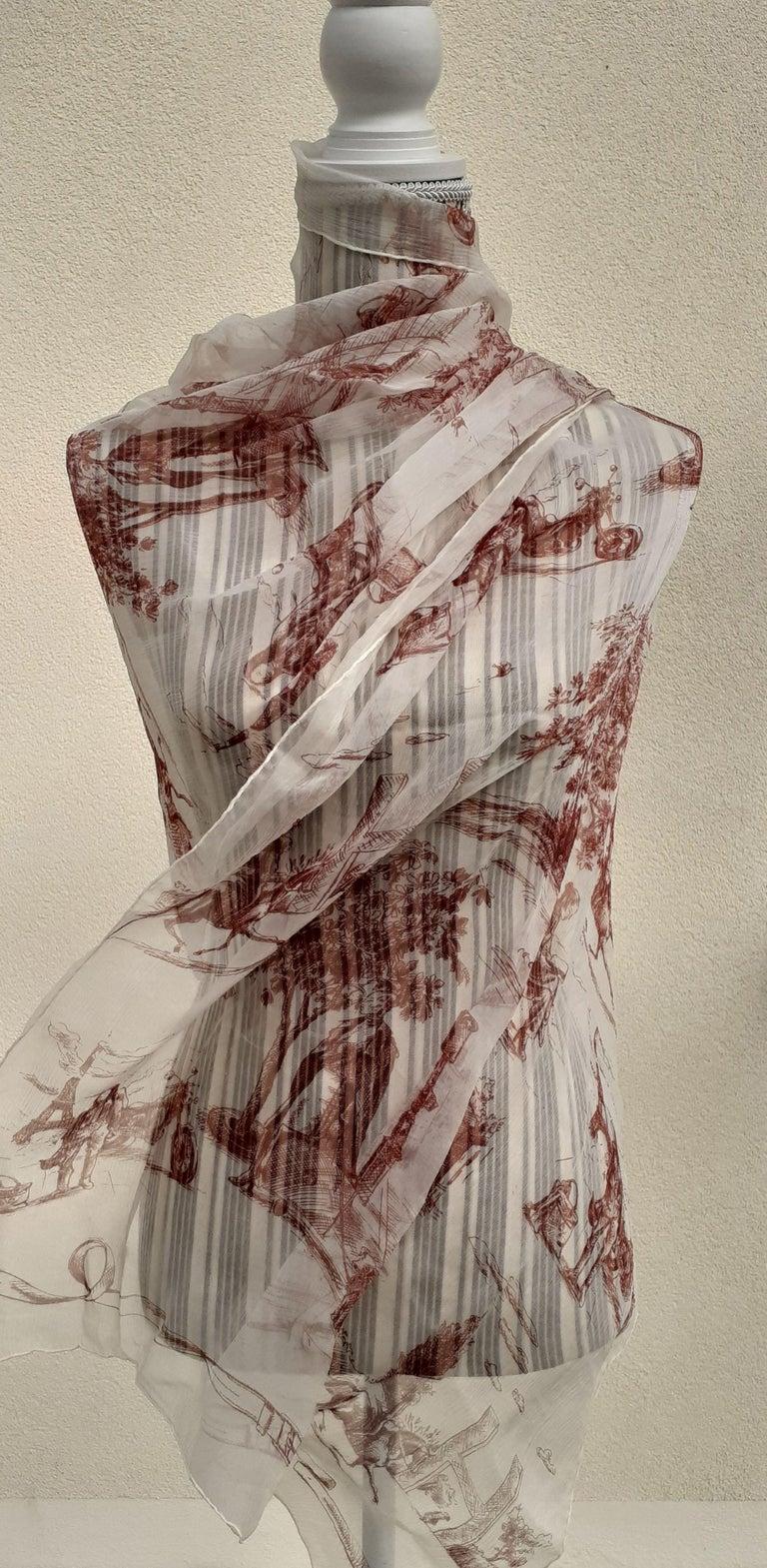 Hermès Chiffon Mousseline Silk Scarf Long Stole Toile de Jouy Pattern Rare For Sale 13