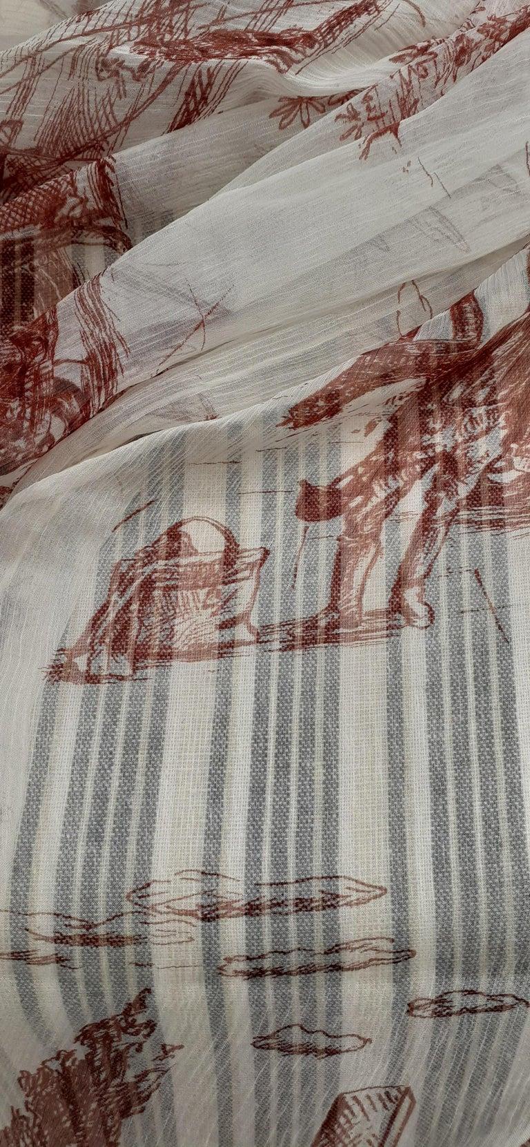 Hermès Chiffon Mousseline Silk Scarf Long Stole Toile de Jouy Pattern Rare For Sale 14