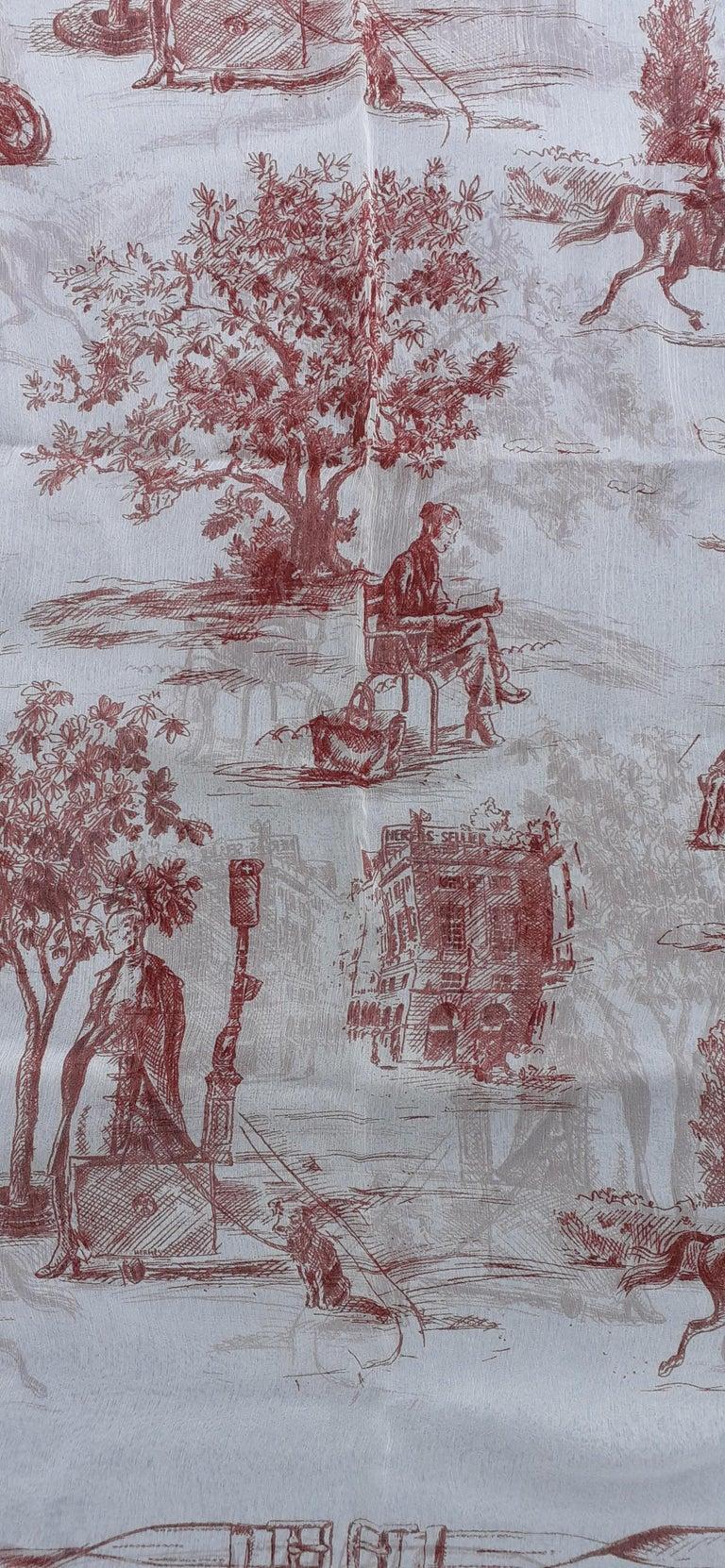 Gray Hermès Chiffon Mousseline Silk Scarf Long Stole Toile de Jouy Pattern Rare For Sale