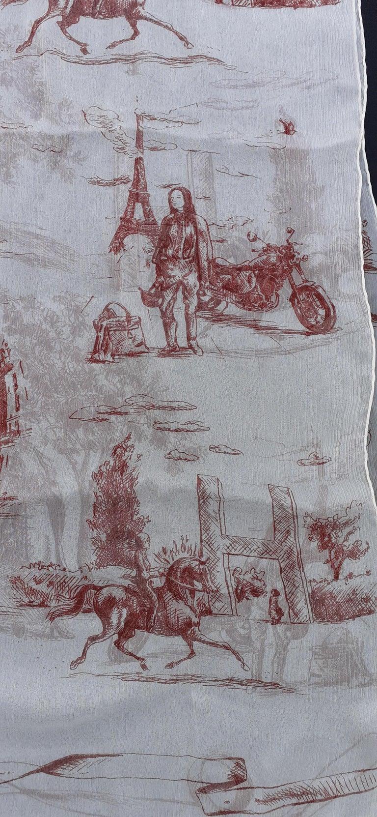 Hermès Chiffon Mousseline Silk Scarf Long Stole Toile de Jouy Pattern Rare In Excellent Condition For Sale In ., FR