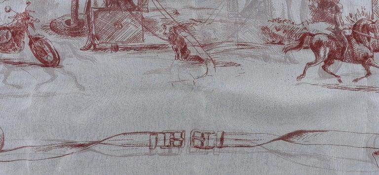 Hermès Chiffon Mousseline Silk Scarf Long Stole Toile de Jouy Pattern Rare For Sale 1