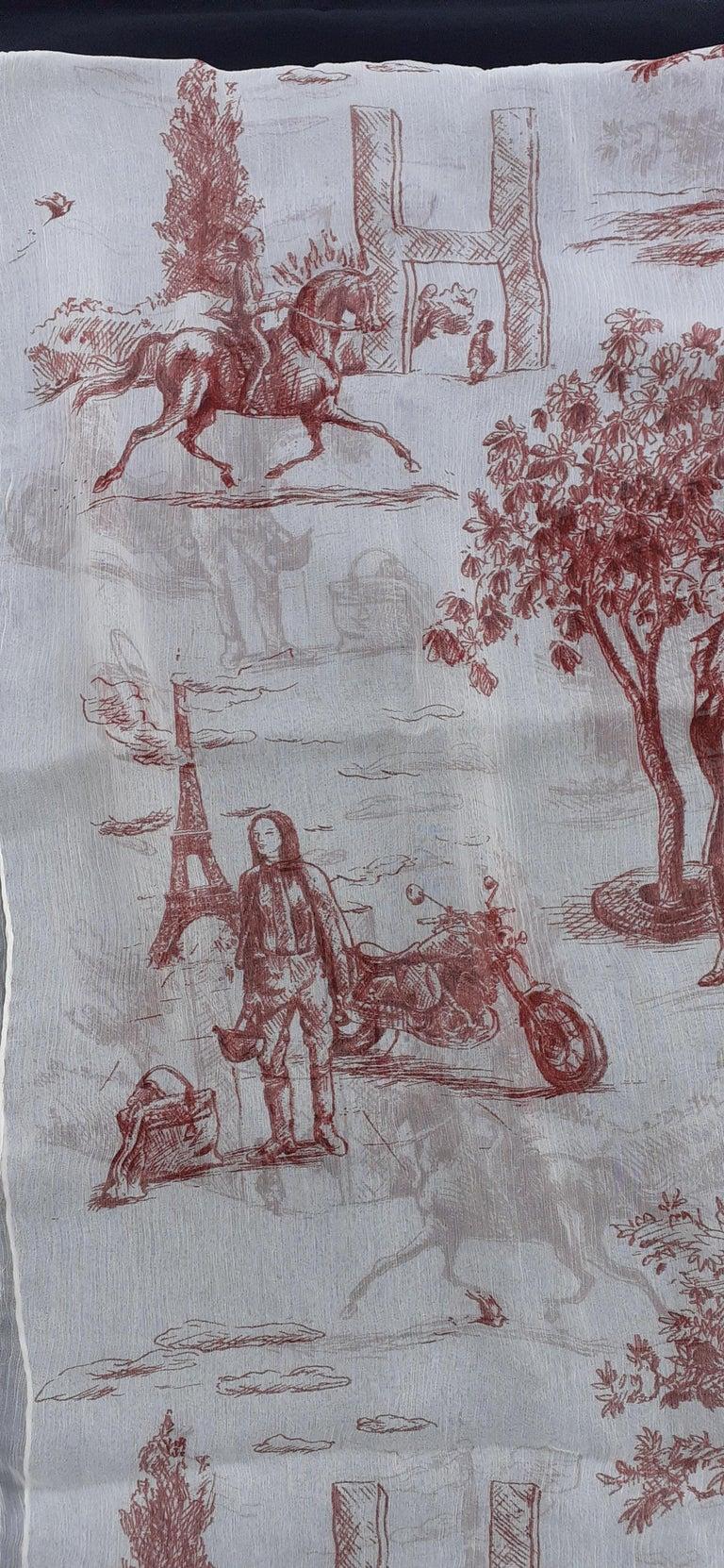 Hermès Chiffon Mousseline Silk Scarf Long Stole Toile de Jouy Pattern Rare For Sale 2