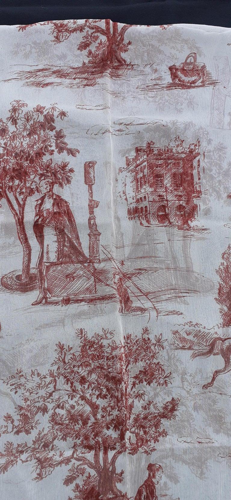 Hermès Chiffon Mousseline Silk Scarf Long Stole Toile de Jouy Pattern Rare For Sale 3