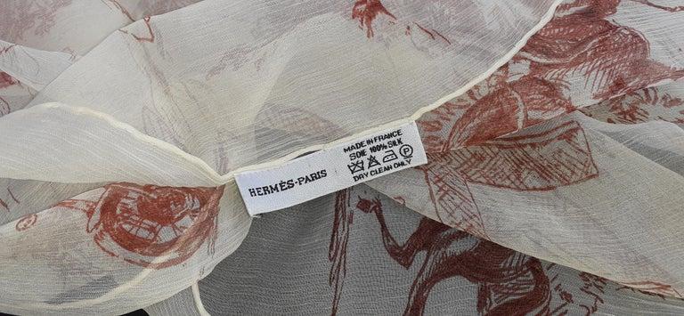 Hermès Chiffon Mousseline Silk Scarf Long Stole Toile de Jouy Pattern Rare For Sale 4