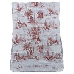 Hermès Chiffon Mousseline Silk Scarf Long Stole Toile de Jouy Pattern Rare