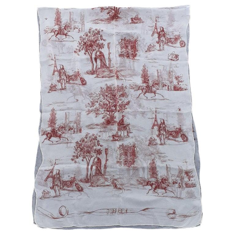 Hermès Chiffon Mousseline Silk Scarf Long Stole Toile de Jouy Pattern Rare For Sale