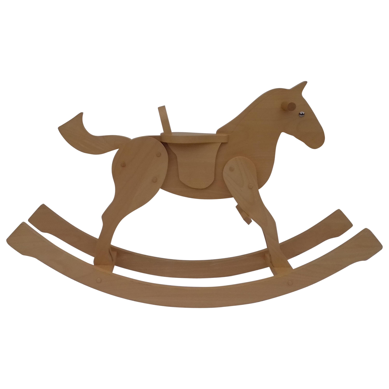Hermès Child Toy Real Beechwood Rocking Horse RARE
