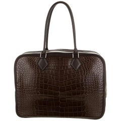 Hermes Choc Brown Alligator Exotic Skin Large Evening Top Handle Satchel Bag