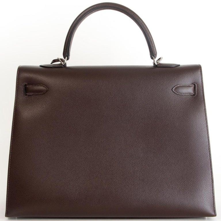Black HERMES Chocolat brown Epsom leather & Palladium KELLY 35 Sellier Bag For Sale