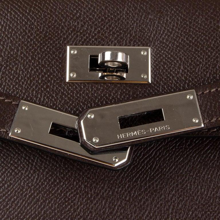 HERMES Chocolat brown Epsom leather & Palladium KELLY 35 Sellier Bag For Sale 1