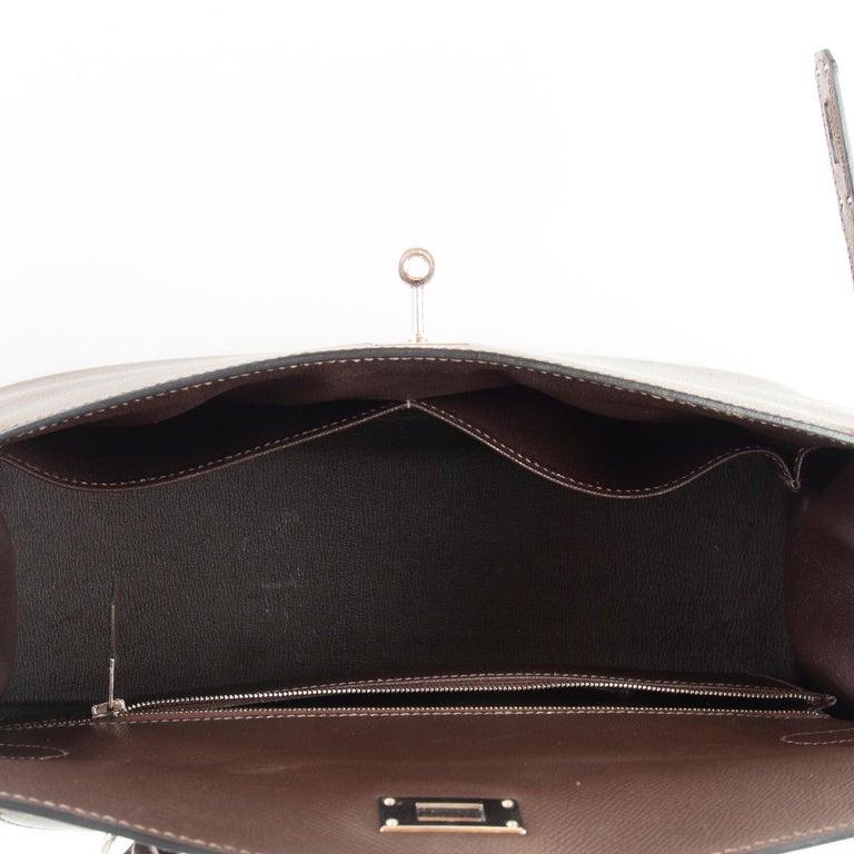 HERMES Chocolat brown Epsom leather & Palladium KELLY 35 Sellier Bag For Sale 2