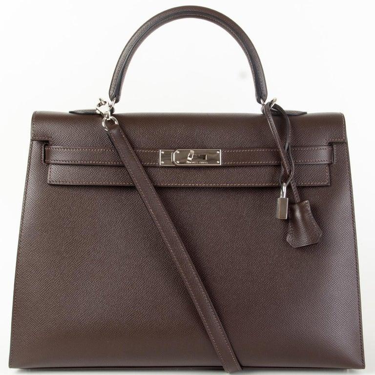 HERMES Chocolat brown Epsom leather & Palladium KELLY 35 Sellier Bag For Sale 4