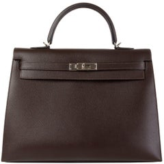 HERMES Chocolat brown Epsom leather & Palladium KELLY 35 Sellier Bag