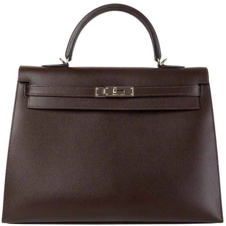 HERMES Chocolat brown Epsom leather & Palladium KELLY 35 Sellier Bag For Sale