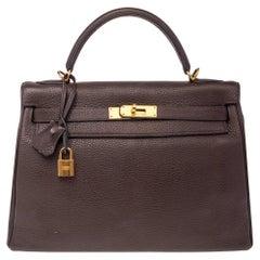 Hermes Chocolat Taurillon Clemence Leather Gold Hardware Kelly Retourne 32 Bag
