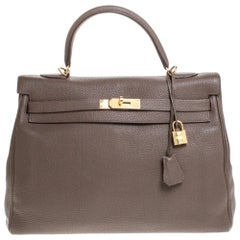 Hermes Chocolat Togo Leather Gold Hardware Kelly Retourne 35 Bag