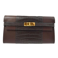 Hermes Chocolate Alligator Exotic Leather Gold Envelope Clutch Wallet in Box