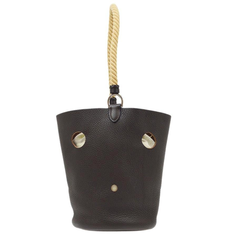Hermes Chocolate Brown Leather Tan Rope Small Carryall Bucket Drawstring Bag
