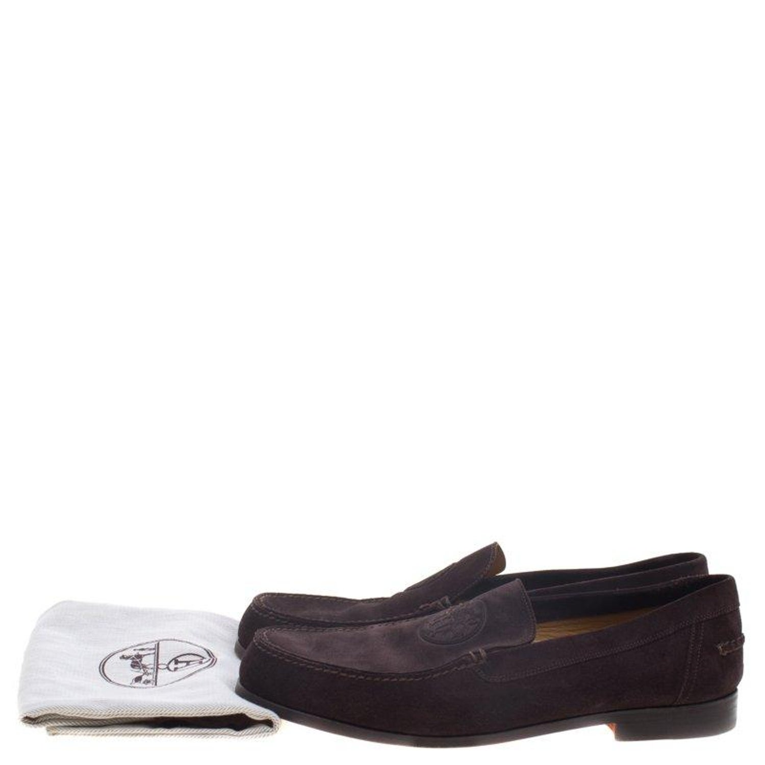 47947595c2b Hermes Chocolate Brown Suede Lucky Moccasins Size 43 For Sale at 1stdibs