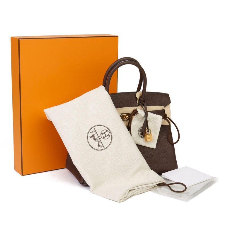 Hermes Chocolate Brown Togo Leather Birkin 30cm For Sale 5