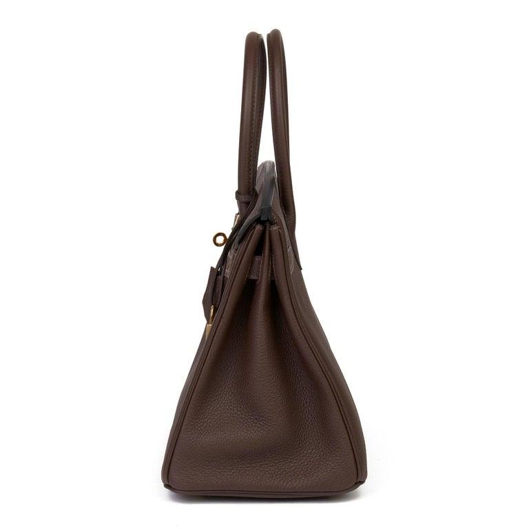Black Hermes Chocolate Brown Togo Leather Birkin 30cm For Sale