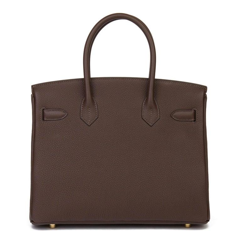 Hermes Chocolate Brown Togo Leather Birkin 30cm In Excellent Condition For Sale In Bishop's Stortford, Hertfordshire