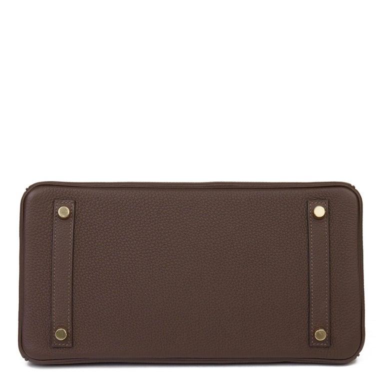 Women's Hermes Chocolate Brown Togo Leather Birkin 30cm For Sale