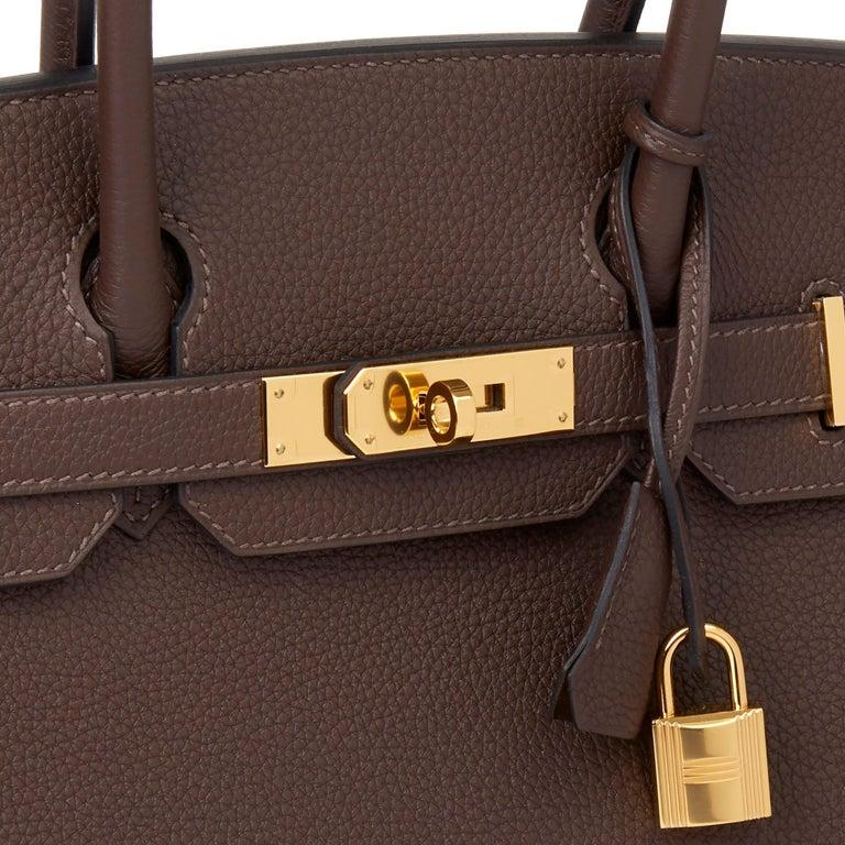 Hermes Chocolate Brown Togo Leather Birkin 30cm For Sale 1