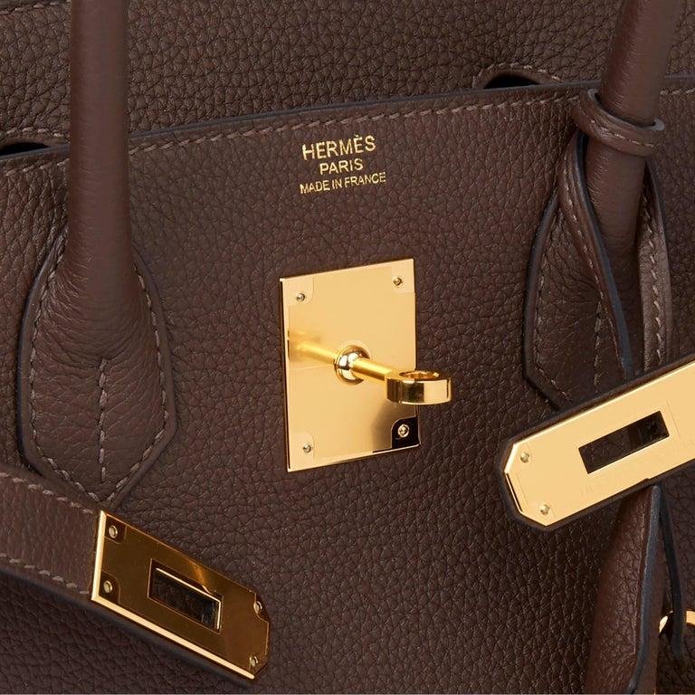 Hermes Chocolate Brown Togo Leather Birkin 30cm For Sale 2