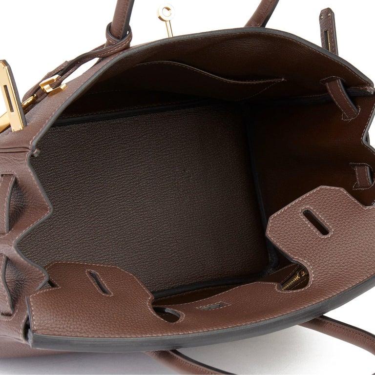 Hermes Chocolate Brown Togo Leather Birkin 30cm For Sale 4