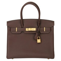 Hermes Chocolate Brown Togo Leather Birkin 30cm