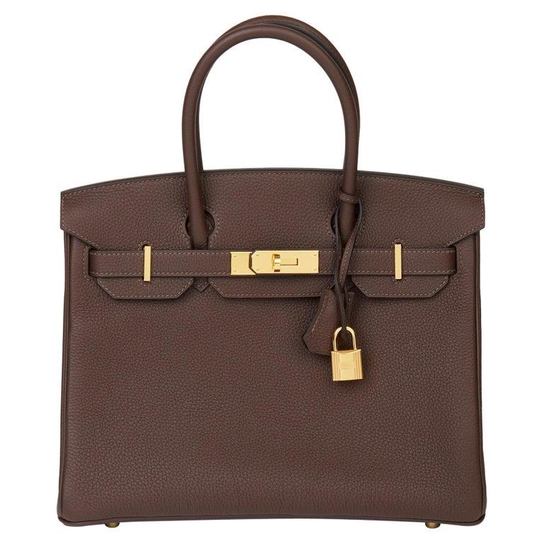 Hermes Chocolate Brown Togo Leather Birkin 30cm For Sale