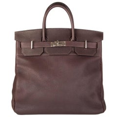 HERMES Chocolate brown Togo leather HAUT A COURROIES 40 HAC BIRKIN Bag