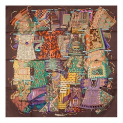 HERMES chocolate brown VOYAGE EN ETOFFES 90 silk twill Scarf