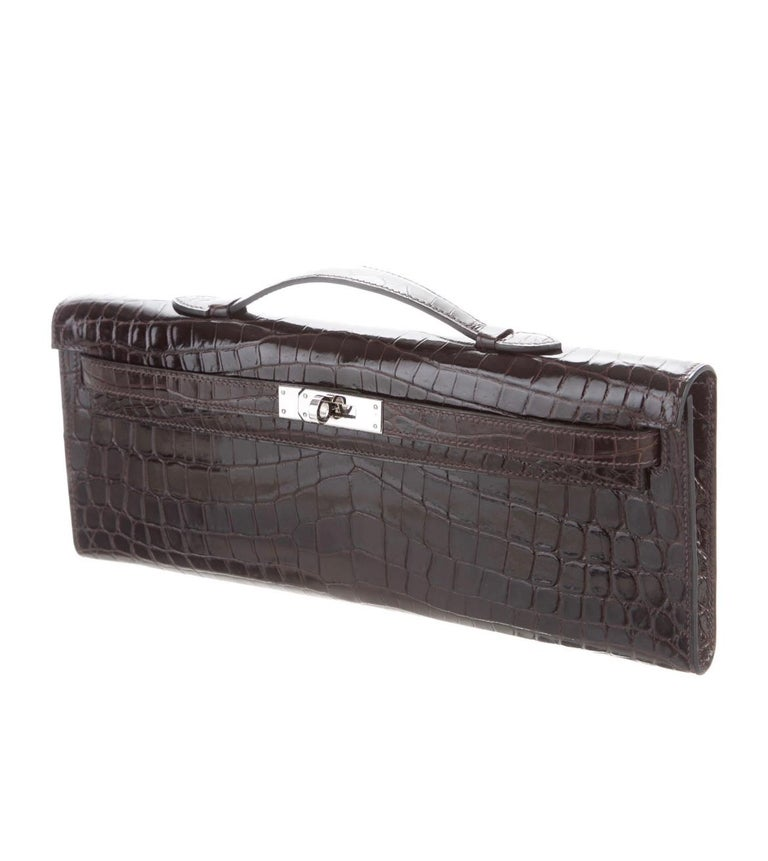 Crocodile Palladium plated hardware Leather lining Turnlock closure Top Handle 1