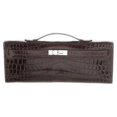 Hermes Chocolate Croc Exotic Leather Kelly Evening Top Handle Clutch Bag in Box