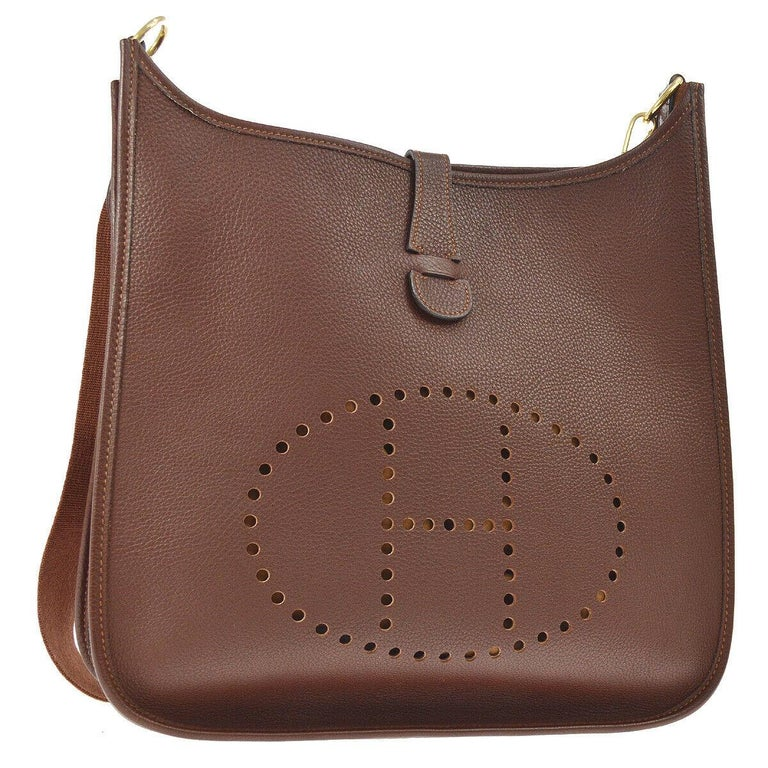 Brown Hermes Chocolate Leather Canvas