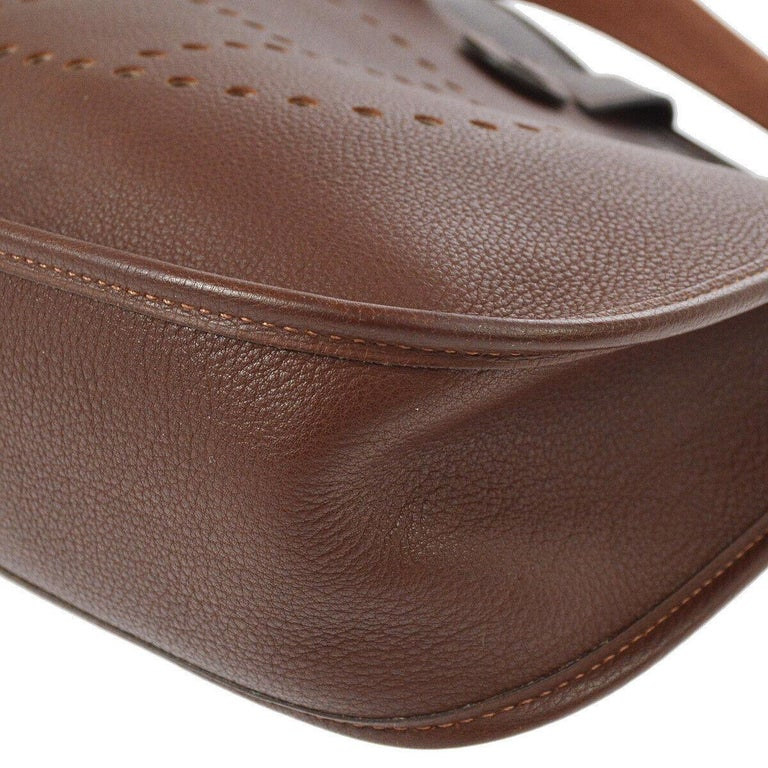 Hermes Chocolate Leather Canvas