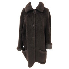 Hermes Chocolate Shearling Coat Size 44