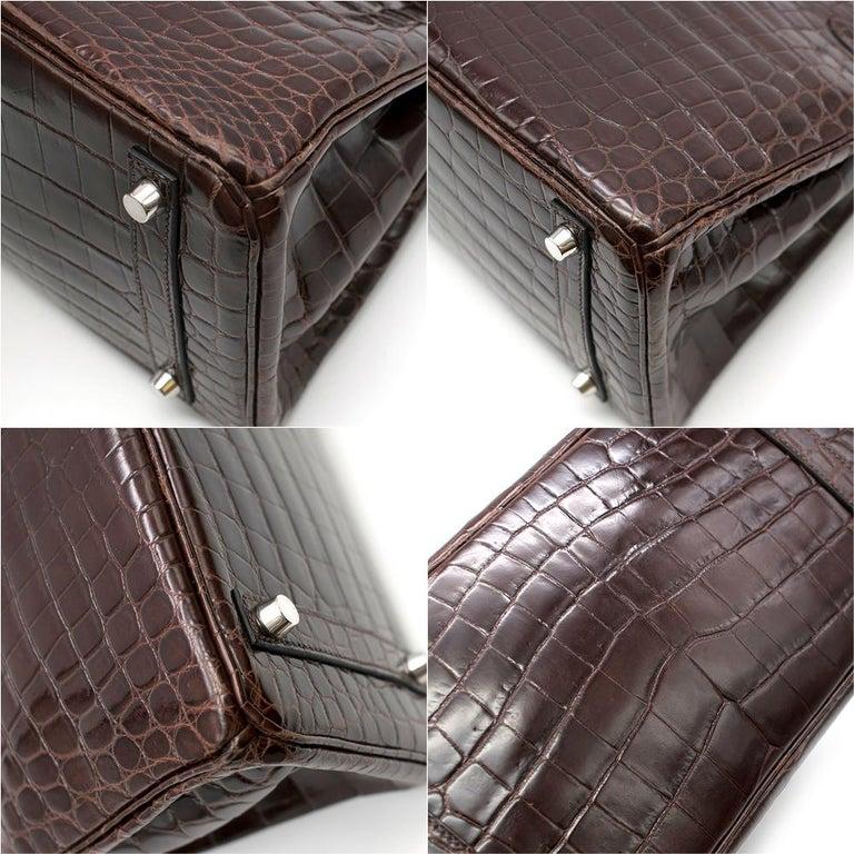 Hermes Chocolate Shiny Porosus Crocodile Leather 30cm Birkin For Sale 5