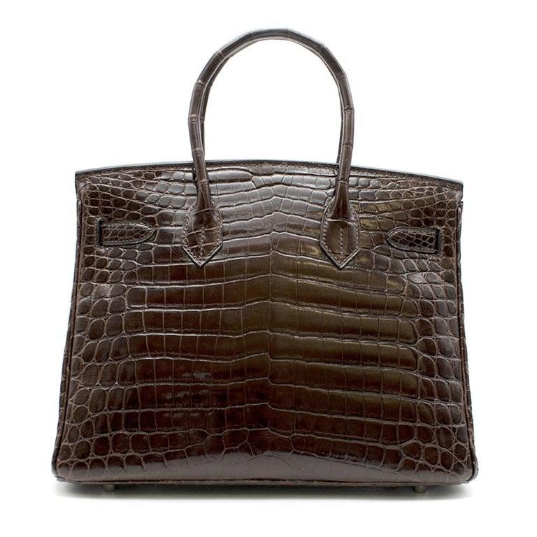 Black Hermes Chocolate Shiny Porosus Crocodile Leather 30cm Birkin For Sale