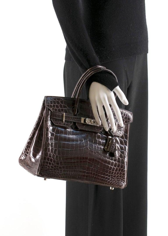 Women's Hermes Chocolate Shiny Porosus Crocodile Leather 30cm Birkin For Sale