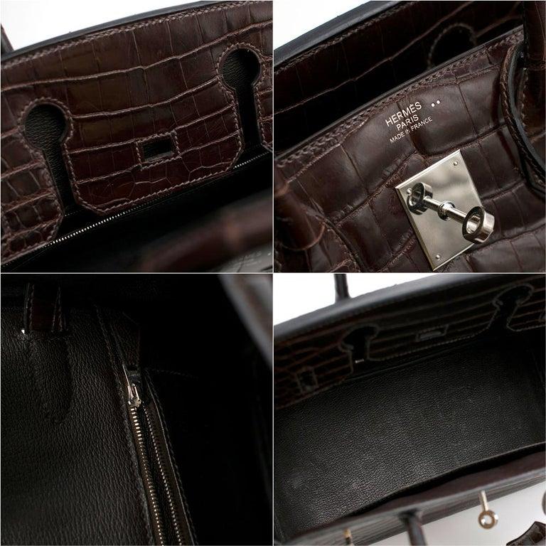 Hermes Chocolate Shiny Porosus Crocodile Leather 30cm Birkin For Sale 1